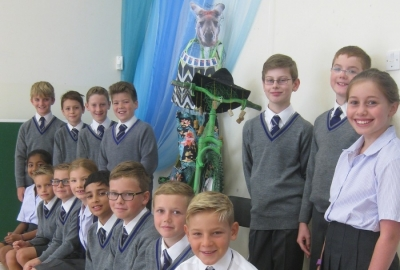 Year 6 customise Rugby World Cup Planter Bike as part of Elmbridge Borough Council project