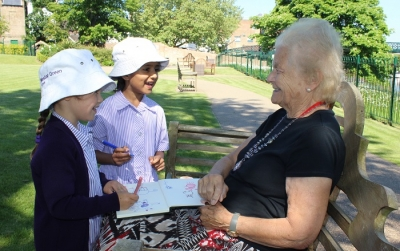 Reception share Forest School sessions with local nursing home residents
